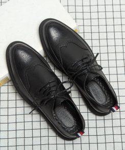 Giày Tây Đen Brogue 3 sọc