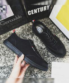 Giày nam casual đen sọc đỏ, giày nam dạo phố thu đông 2019