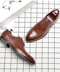 giày tây nâu Ryo viền, giày cho đàn ông tuổi trung niên