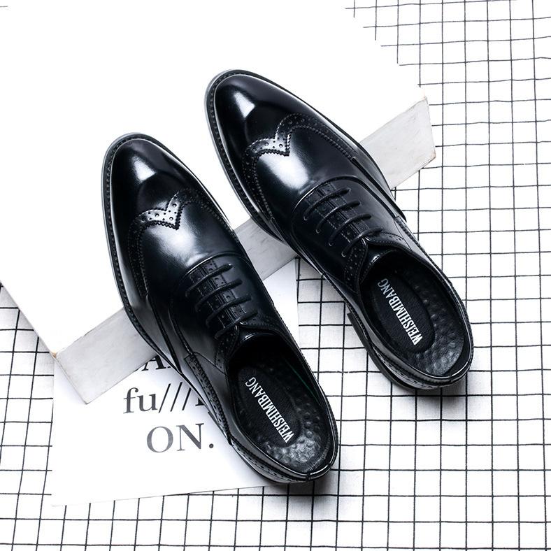 Giày tây nam Brogue Oxford Short Wing đen