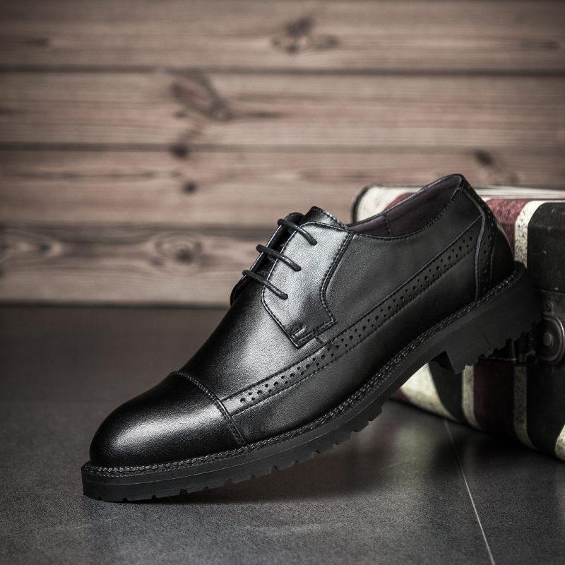 Giày tây nam thắt dây Derby Brother 2083 đen, giày tây nam, giày tây công sở, giày da nam